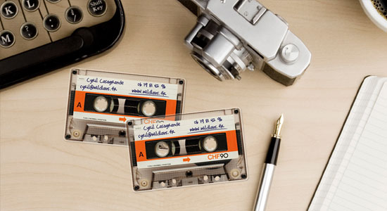 Business Cards that look like cassette tapes! Do you remember cassettes?!